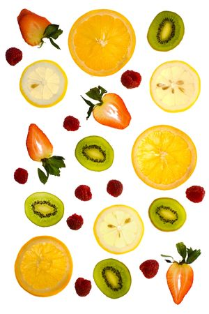 Fresh oranges, strawberries, kiwi, lemon, and raspberries on a white background - delicious and nutritious.
