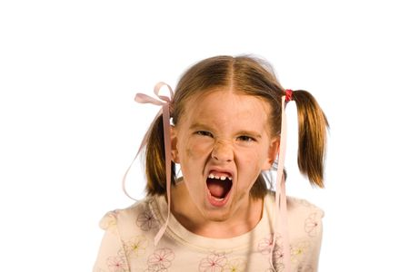 Very dirty young girl having a tantrum. Studio shot isolated on a white background. Stock Photo - 877669