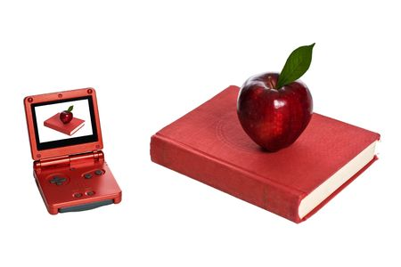 illiteracy: Electronic Game and red book with apple. Isolated on a white.