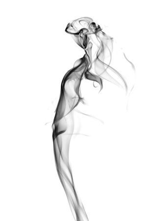curls: Vision of a beautiful woman. Image is a careful combination of photographs of smoke. Isolated on a white background. Stock Photo