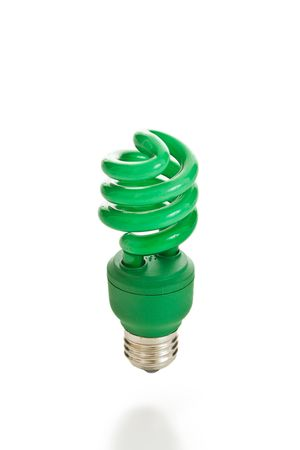 Bright green compact fluorescent light bulb isolated on a white background.