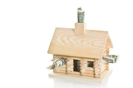 Log cabin full of money. Isolated on a white background.
