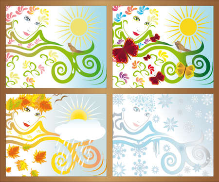Abstract vision of the seasons out of the window  Stock Vector - 9196475
