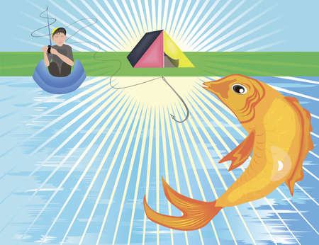 A big golden fish leaping out of the river Illustration