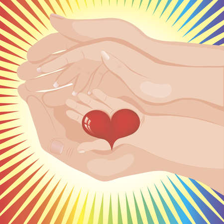 Babys hand holding a heart between parents Vector