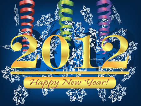 2012 background with streamer and snowflakes Stock Photo - 11660280