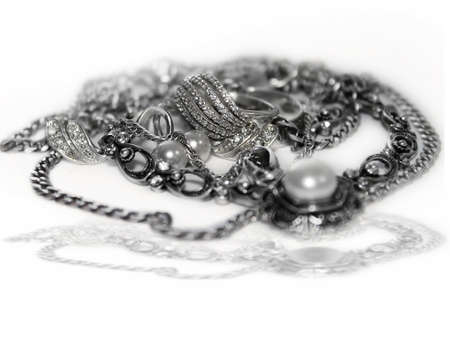 Silver jewelry isolated on white