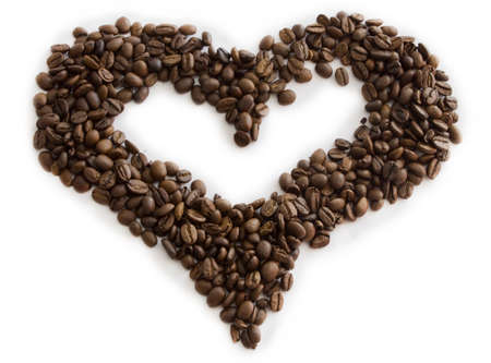 Coffee beans in shape of heart Stock Photo