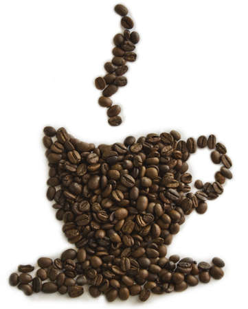 granos de cafe: Copa de la forma de caf� hecho con granos de caf�