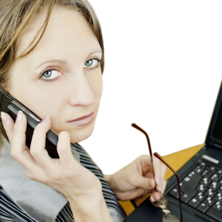 Business woman sitting at the table Stock Photo