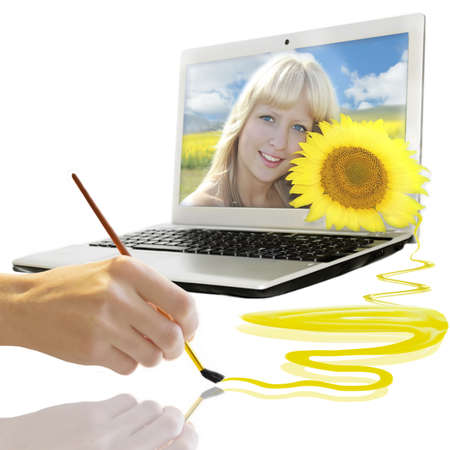 Summer background with smiling girl from notebook Stock Photo - 11961724