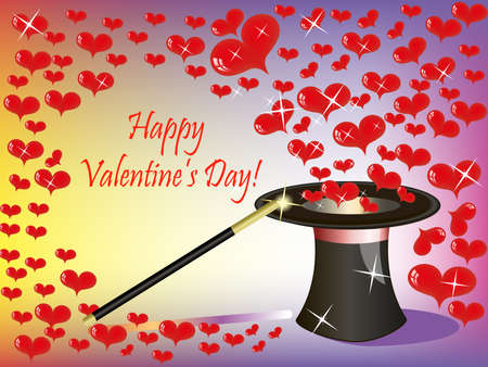 St.Valentine background with a lot of heart flying from the magic hat(0).jpg Stock Vector - 12021130