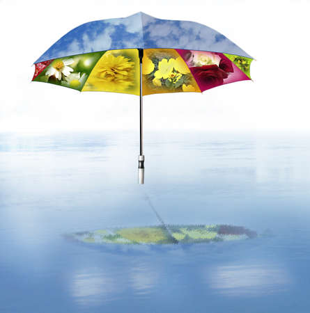 Summer umbrella with sky and flowers over the water(5).jpg Stock Photo - 12021184
