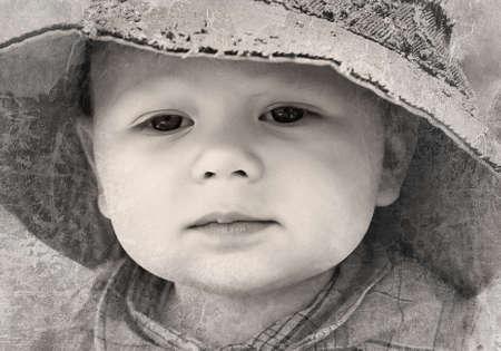 vintage photo: Black and white retro photo of  little boy  Stock Photo