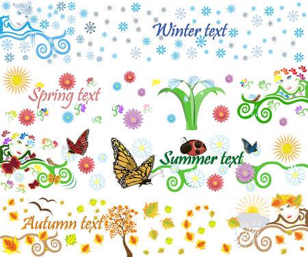 snowdrop: Four seasons vector background Illustration