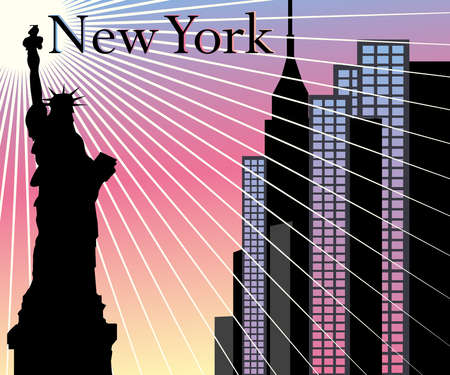the empire state: New York Skyscrapers vector background