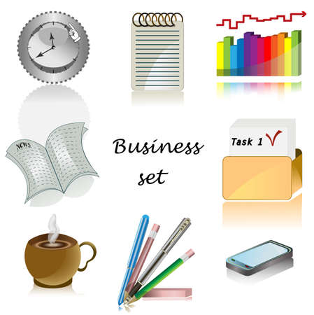 peri�dico: Iconos de negocio para oficina de conjunto Vector Vectores