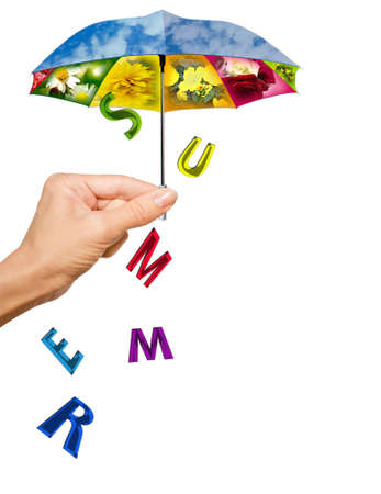 Background with hand, summer umbrella and letters photo