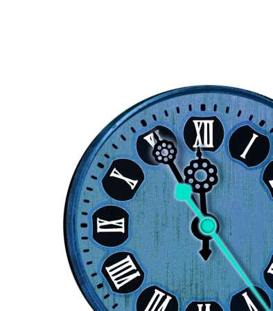 numeros romanos: Reloj azul con n�meros romanos