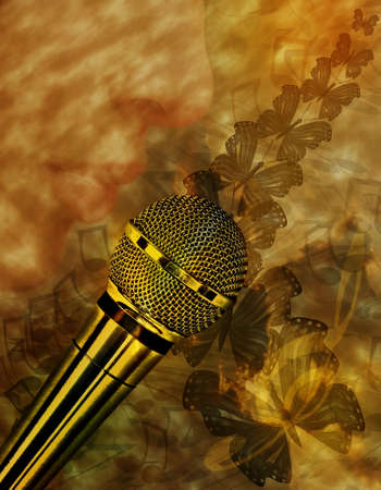 Vintage music background with microphone photo