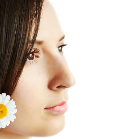 Closeup a profile of brunette Stock Photo - 17544389