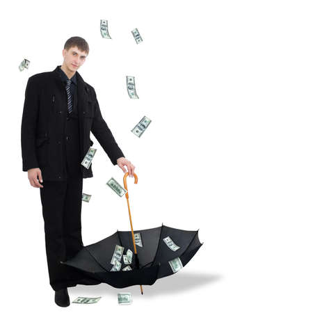 Man catching dollars by umbrella  Stock Photo