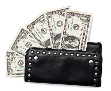 Black purse and dollars isolated on white  Stock Photo