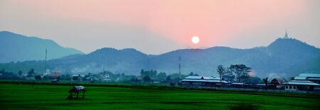 Sunset with Mountain photo
