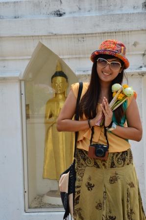 Portrait woman Model Thai greeting Stock Photo - 19225138