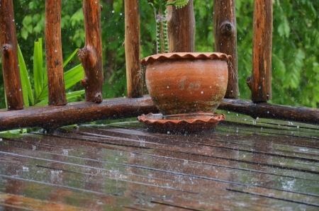 torrential: Rain drop on a wood house