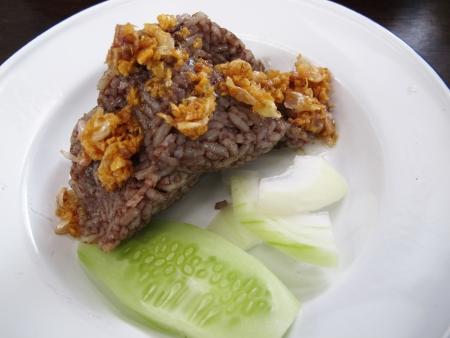 Thai food or Thai Cuisine   sticky rice mix blood                                  photo