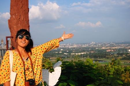 composing: Portrait Thai woman Model at Wat Phra That Doi Kha Chiangmai Thailand