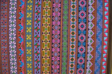 Thai art on cotton photo