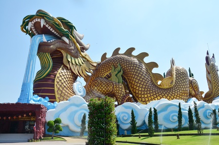 Golden Dragon at Chinese Village Suphanburi Thailand photo