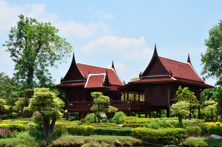 House Thai Style at Buffalo Village in Suphanburi  Thailand