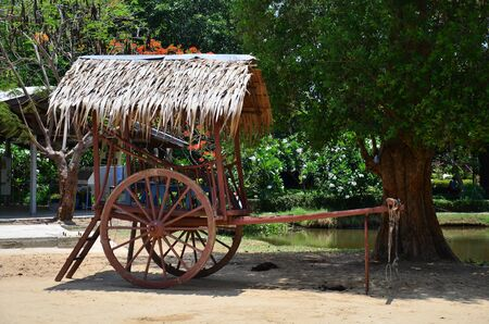 Cart at Buffalo Village in Suphanburi  Thailand photo