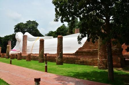 angthong: Reclining Buddha of Wat Khun Inthapramun at  Angthong Province Thailand Stock Photo