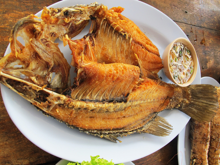silver perch:  Fried Fish Silver perch   With Fish Sauce