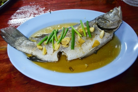 silver perch:  Steamed snapper with soy sauce