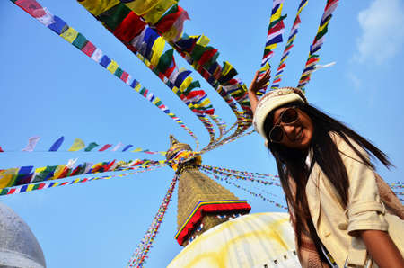Portrait Thai woman Model at Boudhanath Kathmandu Nepal photo