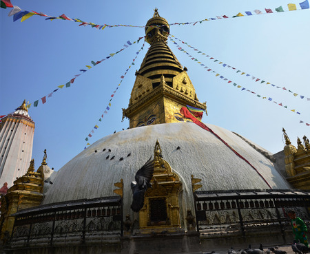 Swayambhunath and Boudhanath with Wisdom Eyes at Kathmandu Nepal photo