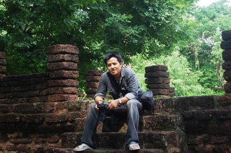 Portrait Thai men at Kamphaeng Phet Historical Park Aranyik Stock Photo - 24626474
