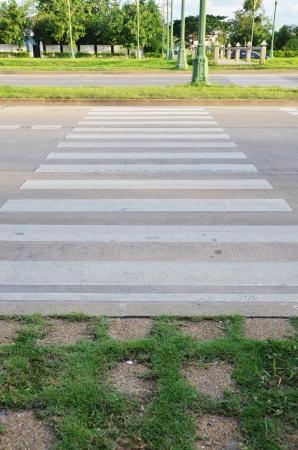 thanon: Crosswalk on Thanon Utthayan or Thanon Aksa Road Stock Photo