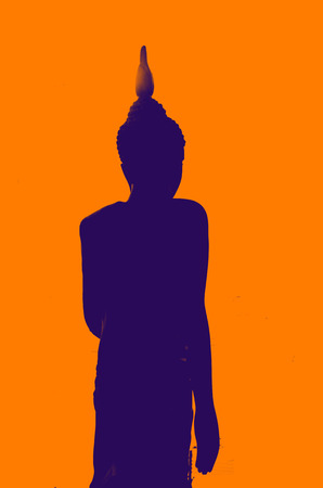 Silhouette Back side Buddha at  Wat Ras Prakorngthum Nonthaburi Thailand photo