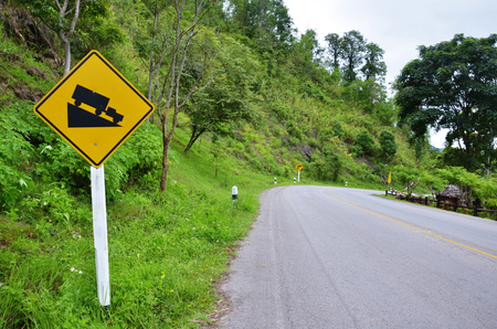 Traffic signs Steep Hill Descent photo