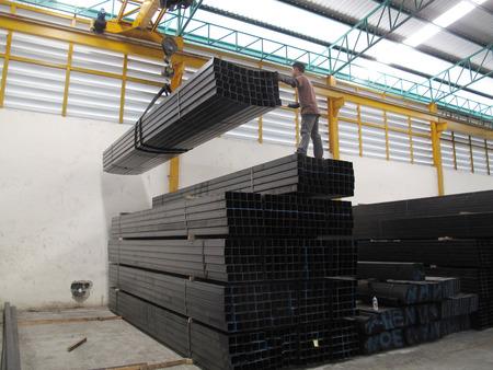 Working with Crane over head in Steel warehouse