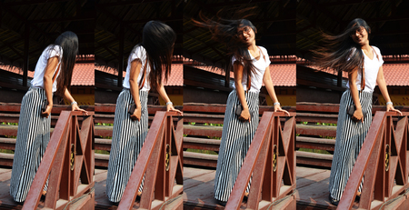 continuation: Continuously Photo Thai woman Long hair portrait