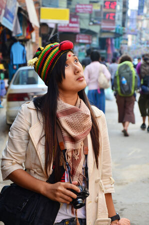 Traveler Thai woman at Thamel market street Kathmandu Nepal photo