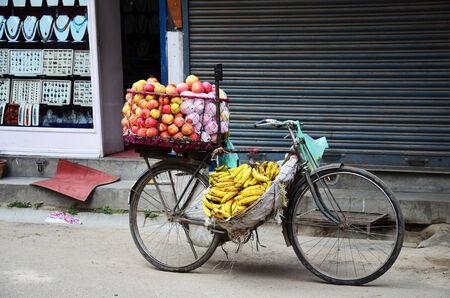 Bicycle Fruit Shop or greengrocery at Thamel market street Kathmandu Nepal photo