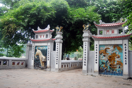 Travel in Ngoc Son Temple at Hanoi Vietnam photo